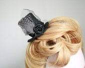 Adorable Tiny Black Rose Hat with Sparkle, Feathers and Nets