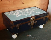 Lucky Trunk Cherry Blossom Edition - Blues, Brass and White -Lowrider Coffee Table or Stylish Storage