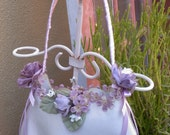 grey satin victorian purse with lavender ribbon and flowers