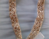 Silver and white sash belt or hair accessory