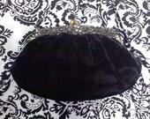 Vintage black velvet purse