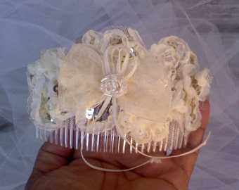 ivory/cream  ribbon comb hairpiece