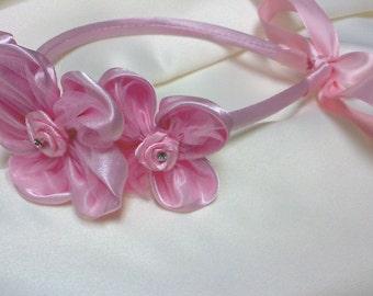 flowergirl pink floral hair accessory/ headband