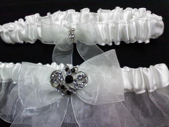 White and Black rhinestone garter