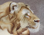 chinese art, hand made silk embroidery lion,animal,home decor