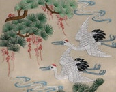 vintage, chinese art, hand made silk embroidery double cranes,bird,animal,home decor