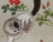 hand made silk embroidery curious cat,kitty,pet