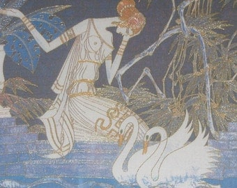 chinese art, hand made silk embroidery abstract art swan girl,home decor