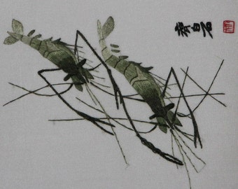 vintage, chinese art, hand made silk  embroidery   shrimps,home decor embroidery