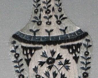 porcelain vase,vintage,home made embroider antique white and blue porcelain vase,chinese art,wall vase