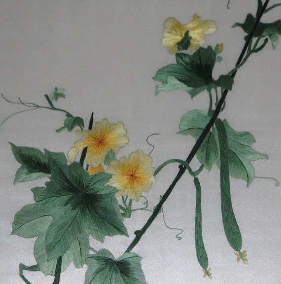 Chinese Art Hand Made Silk Embroidery Cucumberflowerhome