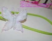 White Butterfly on Lime Green Headband