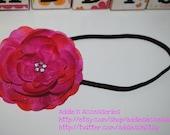 Hot Pink Handmade Flower on a Brown Elastic Headband