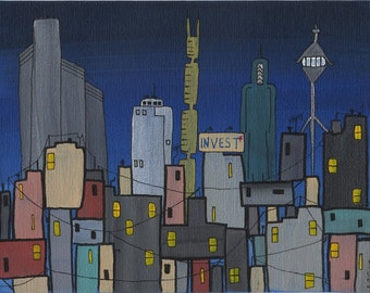 Invest  HALF PRICE cityscape acrylic on canvasboard
