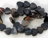 1 Strand of Natural Black Agate Stone Heart Beads