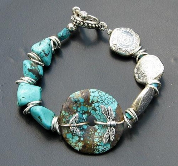 Price Reduced Turquoise Stone Donut and Nugget Bracelet