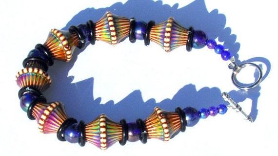 Mirage Mood Beads and Blue AB Czech Glass Bracelet