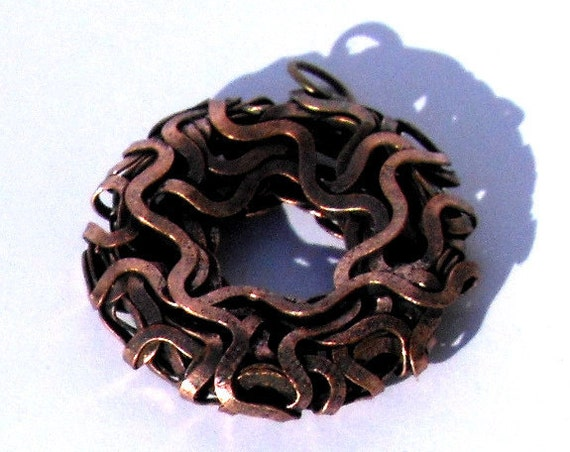 30mm Hammered Copper Wire Donut Pendant