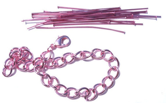 Pink Bracelet Chain with Lobster Claw and Head Pins Kit Findings