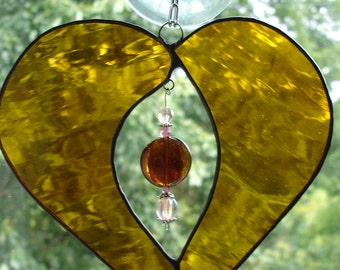 Amber Stained Glass Heart  with Jeweled Center