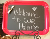 "Red Vintage Metal Luncheon Trays, Chalkboard, Magnetic Board, Memo Board 14""x10"""