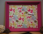 "Hot Pink Frame, Butterflies and Flower Fabric Covered Magnetic Memo Board, Message Board, Bulletin Board, 17"" x 20"""