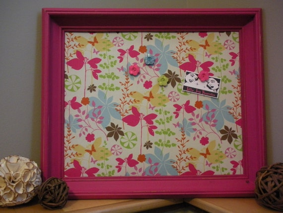 """Hot Pink Frame, Butterflies and Flower Fabric Covered Magnetic Memo Board, Message Board, Bulletin Board, 17"""" x 20"""""""