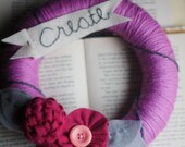 Yarn Wrapped Wreath, Felt Flowers and Leaves. Create Banner. Wreath by Catshy Crafts