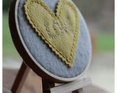 Embroidery Hoop Art. Yellow Felt Heart Embroidered with LOVE. Wall Hanging by Catshy Crafts