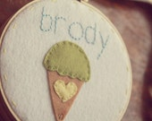 Personalized Embroidery Hoop Art. Ice Cream Cone with Heart. Wall Decor by Catshy Crafts