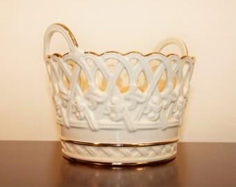 vintage ivory porcelain Lenox 24-karat gold painted basket