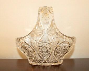 vintage crystal pinwheel egg basket dish