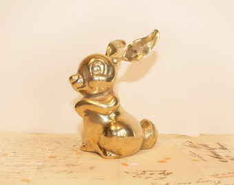 vintage large brass rabbit figurine