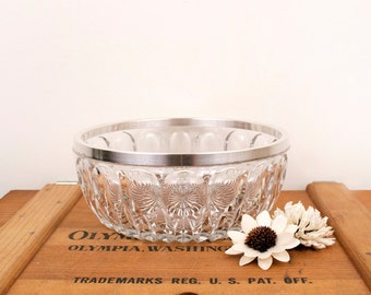 vintage medium crystal glass bowl with silver plated rim