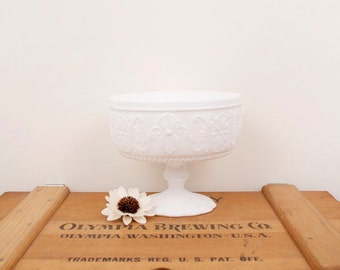 vintage flower decorations milk glass pedestal dish