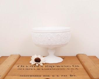 vintage flower decorations milk glass pedestal dish