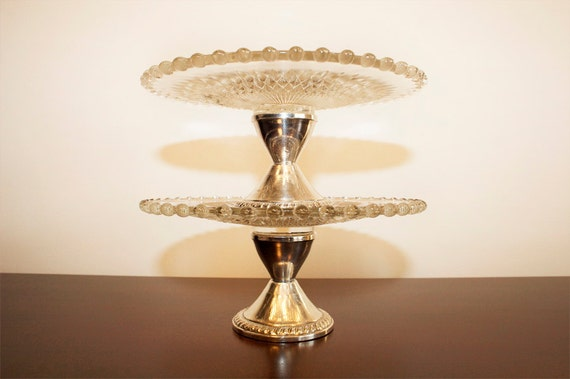 vintage pair of sterling silver pedestal and crystal compote serving dishes
