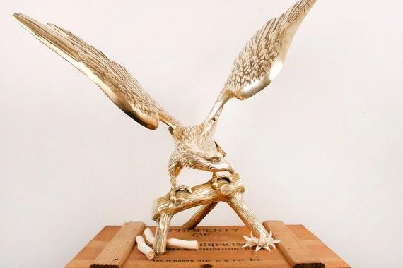 vintage extra large brass eagle figurine