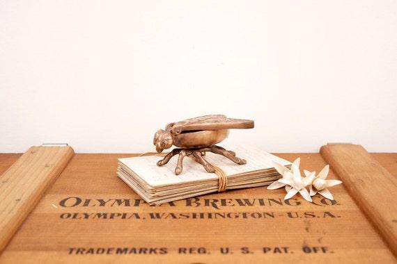 vintage brass fly matchstick or trinket holder figurine