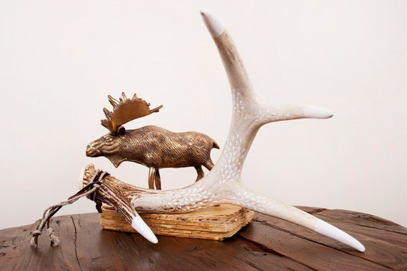 hand painted whitetail deer antler