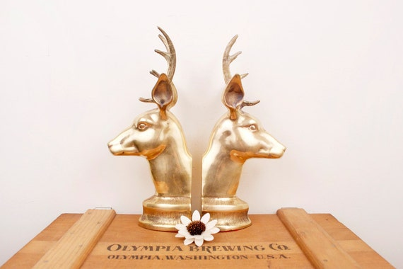 vintage brass large deer head bookends