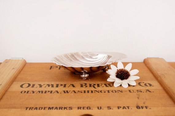 vintage silver plate shell trinket dish by International Silver Co.