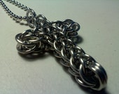 Handmade Chainmail Stainless Steel Cross Pendant