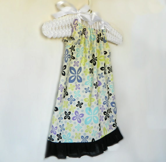 Toddler Girls Dress - Purple, Green, Blue & Black Flowers on White- made to order 12 - 24 months - 2T 3T 4T 5T