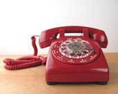 Vintage Red Rotary Phone Telephone Western Electric Dial Mid Century