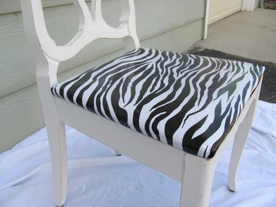 Vintage Shabby Chic Furniture Wood Chair Zebra Oil Cloth