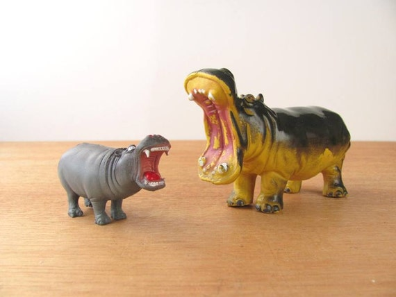 Vintage Toy Hippo Set Rubber Monster Animals