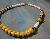 Vintage Necklace, White, Blue & Yellow