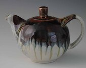 Ceramic Teapot, White Purple Brown