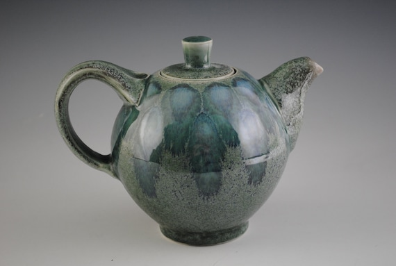Porcelain Teapot  Mottled green Glaze with Blue Glaze Pattern On The Top